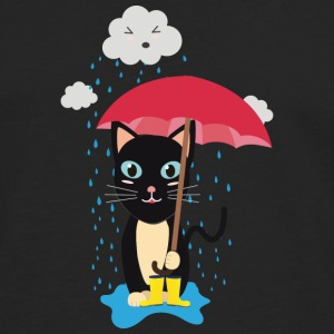 Cat in the rain with umbrella Long sleeve shirts - Men's Premium Longsleeve Shirt