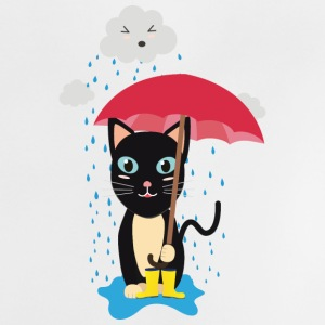 Cat in the rain with umbrella Baby Shirts  - Baby T-Shirt