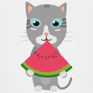 Cat with melon Shirts - Teenage Premium T-Shirt