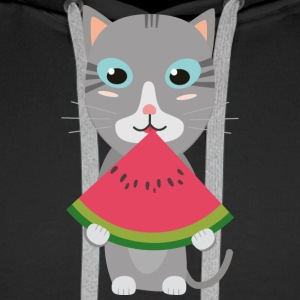 Cat with melon Hoodies & Sweatshirts - Men's Premium Hoodie