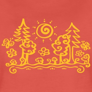 Forest sun tree holiday holidays hiking summer T-Shirts - Women's Premium T-Shirt