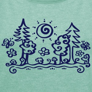 Forest sun tree holiday holidays hiking summer T-shirts - Vrouwen T-shirt met opgerolde mouwen