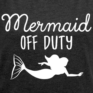 Mermaid Off Duty T-skjorter - T-skjorte med rulleermer for kvinner
