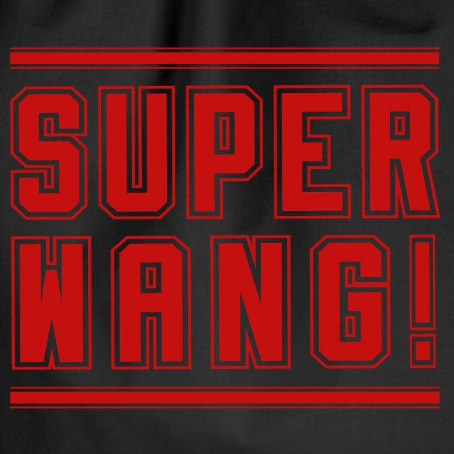 """SUPER WANG! Beutel in schwarz, Logo """"SUPER WANG!"""", rot"""