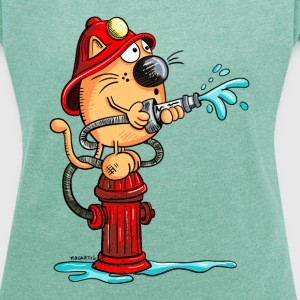 Firefighter Cat T-Shirts - Women's T-shirt with rolled up sleeves