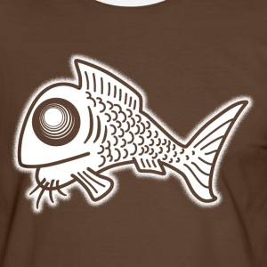 Freaky Fish wit VLA11 T-shirts - Mannen contrastshirt