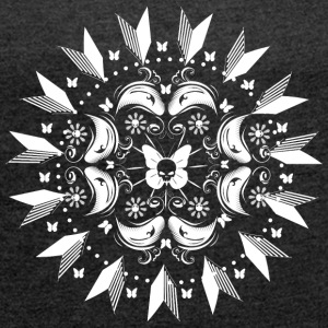 Butterflies with skull mandala T-Shirts - Women's T-shirt with rolled up sleeves