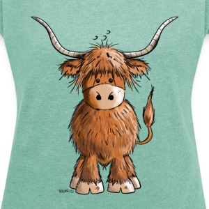 Scottish Highland Cattle Tee shirts - T-shirt Femme à manches retroussées