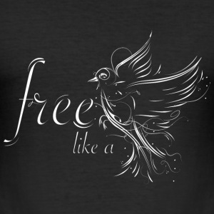 Bird in calligraphy style T-Shirts - Men's Slim Fit T-Shirt