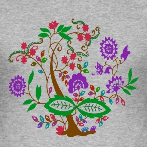Colourful Floral Tree T-Shirts - Men's Slim Fit T-Shirt