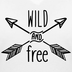 AD Wild and Free T-Shirts - Women's V-Neck T-Shirt