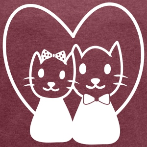CAT IN LOVE COUPLES T-Shirts - Women's T-shirt with rolled up sleeves