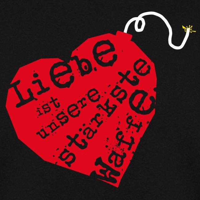 Liebe ist unsere stärkste Waffe: Herz - mit Rückendruck (rot)