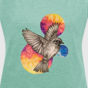 Heather mint  T-Shirts - Women's T-shirt with rolled up sleeves