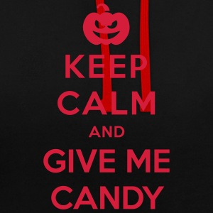 Keep Calm Give Me Candy - - Halloween divertido Sudaderas - Sudadera con capucha en contraste