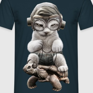 CAT RIDING TORTOISE - Men's T-Shirt