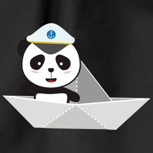Captain Panda paper boat Bags & Backpacks - Drawstring Bag