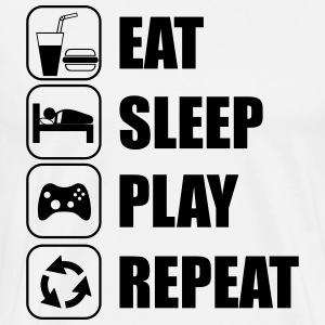 Eat,sleep,play,repeat geek gamer gaming - Mannen Premium T-shirt