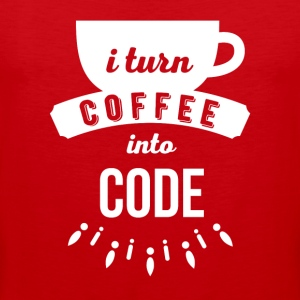 I turn coffee into code Programmers T Shirt Sports wear - Men's Premium Tank Top