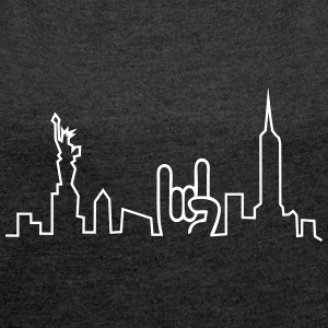 new york skyline T-Shirts - Frauen T-Shirt mit gerollten Ärmeln