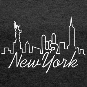 new york manhattan T-Shirts - Frauen T-Shirt mit gerollten Ärmeln