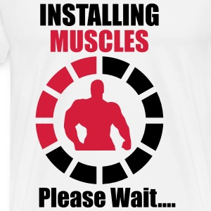 Installing muscles - funny gym  - Männer Premium T-Shirt