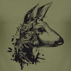 Deer with floral ornamentation T-Shirts - Men's Slim Fit T-Shirt