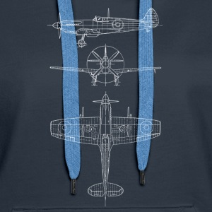 Spitfire airplane blueprint avion Sweat-shirts - Sweat-shirt à capuche Premium pour femmes