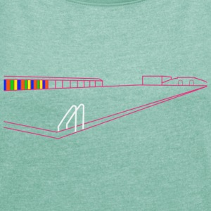 Tooting Bec Lido line art design - Women's T-shirt with rolled up sleeves