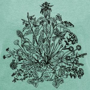 Edible wild herbs, green, vegan, cook, chef, food Sweaters - Vrouwen T-shirt met opgerolde mouwen