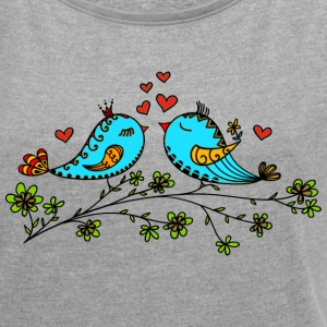 Birds in love hearts, Valentines day, birdie, cute T-skjorter - T-skjorte med rulleermer for kvinner