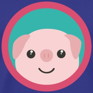 Cute pink pig with a purple circle T-Shirts - Men's Premium T-Shirt