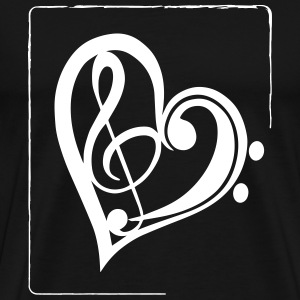 Treble clef & bass clef heart Tee shirts - T-shirt Premium Homme