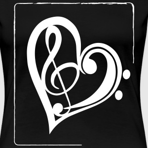 Treble & Bass Clef Heart - Premium T-skjorte for kvinner