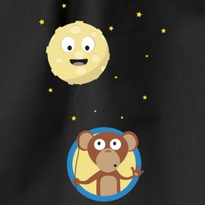 Monkey with friendly moon on a rope Bags & Backpacks - Drawstring Bag