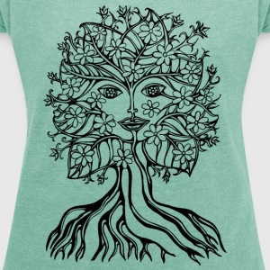 Tree fairy, save, earth, planet, forest, fantasy T-shirts - Dame T-shirt med rulleærmer