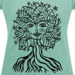 Tree fairy, save, earth, planet, forest, fantasy T-skjorter - T-skjorte med rulleermer for kvinner