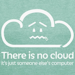 'There Is No Cloud' T-Shirt - Green & White Glitte - Women's T-shirt with rolled up sleeves