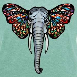 African elephant with butterfly ears  T-Shirts - Women's T-shirt with rolled up sleeves