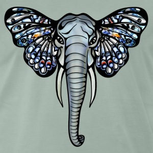African elephant, Afrika, olifant, vlinder, oor T-shirts - Mannen Premium T-shirt