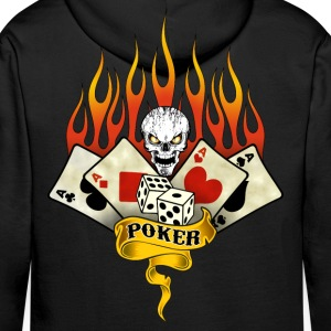 poker skull flaming Sweat-shirts - Sweat-shirt à capuche Premium pour hommes