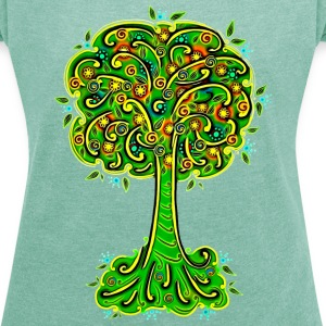 Tree, blossoms, forest, hiking, vegan, save nature T-Shirts - Women's T-shirt with rolled up sleeves