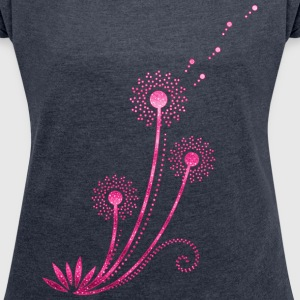 Dandelion, Blowball, summer, spring, gift, flower T-Shirts - Women's T-shirt with rolled up sleeves