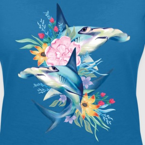 Animal Planet Cute Hammerhead Sharks Flowers - Women's V-Neck T-Shirt
