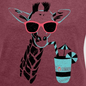 Animal Planet Giraffe Mit Cocktail Sommer - Frauen T-Shirt mit gerollten Ärmeln