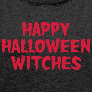 Happy Halloween Witches T-shirts - Dame T-shirt med rulleærmer