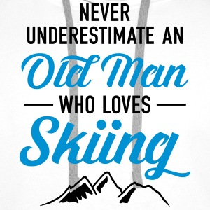 Never Underestimate An Old Man Who Loves Skiing Tröjor - Premiumluvtröja herr