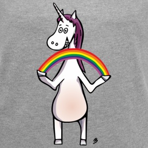 Magic Unicorn - Unicorn and Rainbow Camisetas - Camiseta con manga enrollada mujer