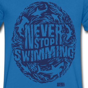 Animal Planet Sharks Never Stop Swimming - Herre T-shirt med V-udskæring