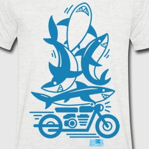 Animal Planet Humour Ocean Sharks Motorbike - Men's V-Neck T-Shirt